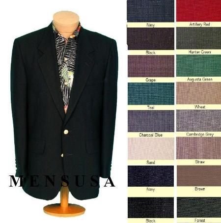 SKU# TNP755 Mens 2 Button Front 4 on Sleeves Fully Lined Metal Buttons Blazer All Colors