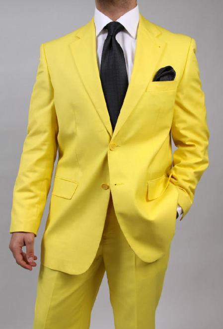 SKU#KA1456 Mens Two Button Yellow Suit