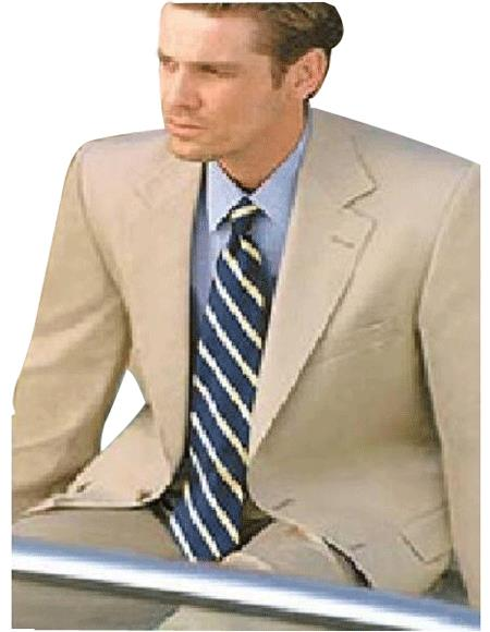 Lightest Tan ~ Beige 2 Buttons, Super 100s Wool Feel Rayon Viscose  2 Piece Suits - Two piece Business suits