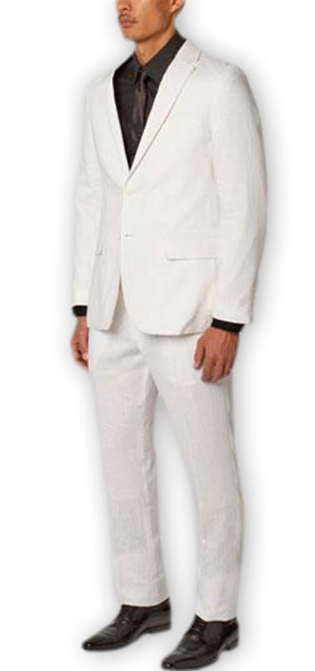 Alberto Nardoni Authentic Brand Men's Two Buttons   100% Linen Double Vent Two Piece White Suit