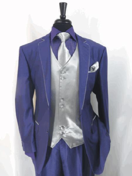 Mens Two Toned Tuxedo Trimmed Jacket With Matching Satin Vest and Hankie Purple