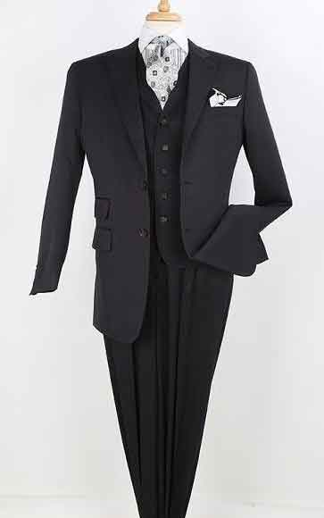Mens Ticket Pocket Lapeled Vested 100% Wool 2 Button Peak Lapel Pleated Pants Black On Black Shadow Ton On Ton Stripe Pinstripe