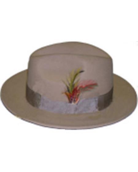 Men's Untouchable Tan Fedora Wool Dress Hat