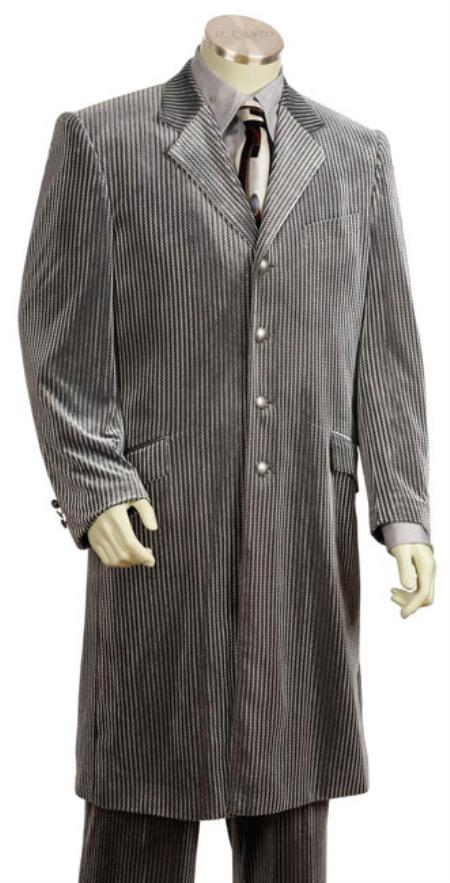 SKU#DA7852 Mens Urban Styled Suit with Full Length Jacket Silver Grey