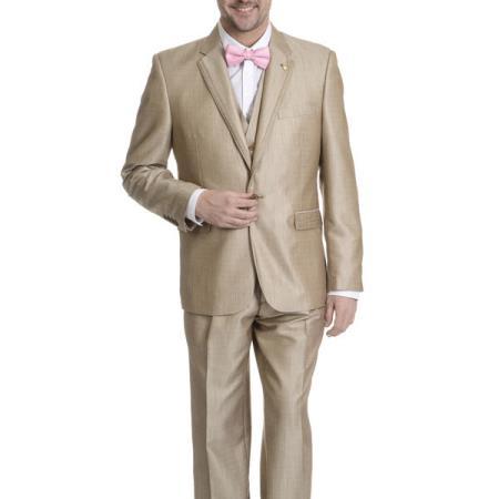 3-piece V-neck Tan Tuxedo