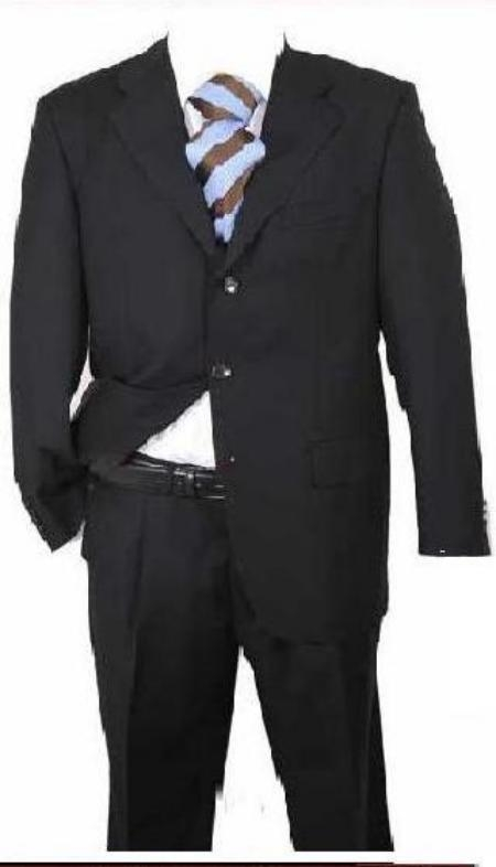 SKU# KL-98 Mens Black Solid Wool Suit $99