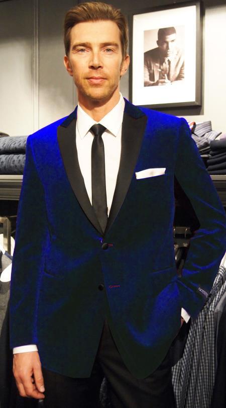 SKU#RP-46 Velvet Velour Blazer Formal Tuxedo Jacket Sport Coat Two Tone Trimming Notch Collar Midnight Navy Blue Black satin lapel