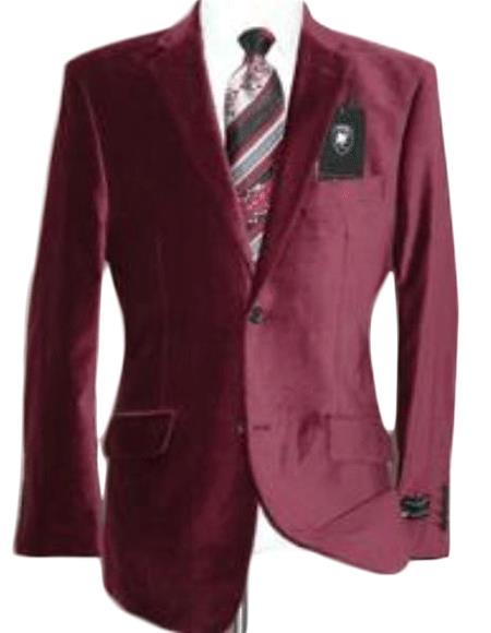 Velvet Blazer - Mens Velvet Jacket Velvet Burgundy ~ Maroon Suit ~ Wine Color Sport Coat Cheap Priced Unique Fashion Designer Men's Dress Sale