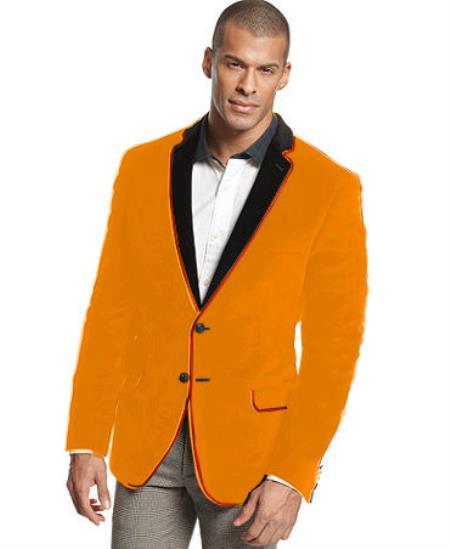 SKU#H-63Q Velvet Velour Blazer Formal Tuxedo Jacket Sport Coat Two Tone Trimming Notch Collar Orange