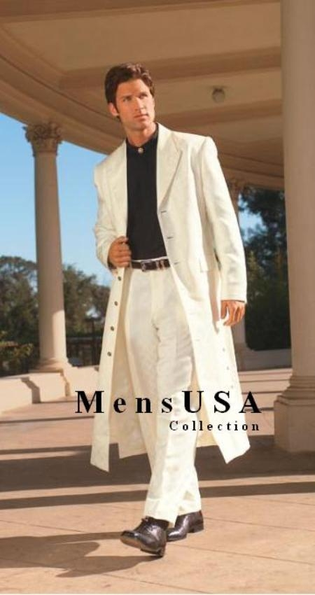 SKU# AMG411 Mens Very Long Fashion Ivory/Off White Zoot Suit $199