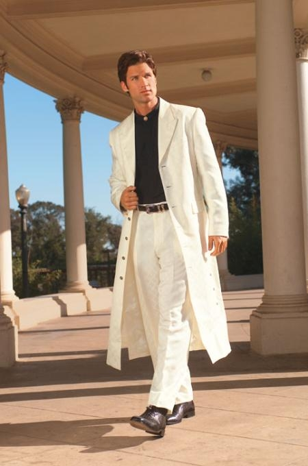 SKU# AMG411 Mens Very Long Fashion Off White Zoot Suit