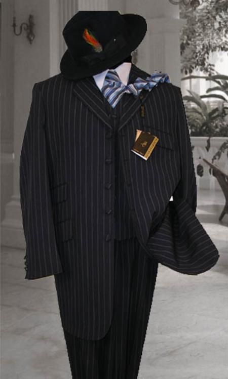 SKU# TLHJ245 Mens Vested Navy & White Pinstripe Fashion Zoot Suit