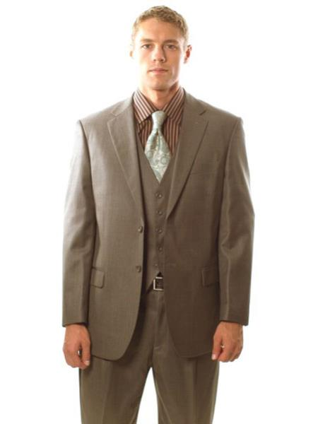 Mens 2 Button Taupe Pinstripe Vested 3PC Cheap Priced Business Suits Clearance Sale in Classic Fit