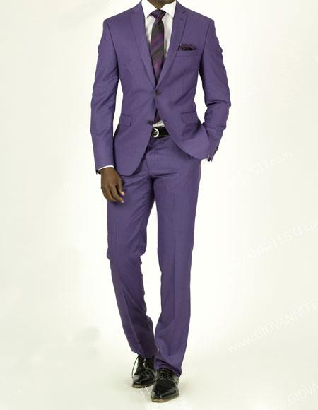 Buy EFTR-612 Mens Pick Stitched 2 Button Slim Fit Skinny Suit Violet