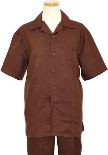 SKU#RM1347 Mens Linen 2 Piece Summer Casual Two Piece Walking Outfit For Sale Pant Sets Casual Suit Short sleeve Shirt + Pants Brown
