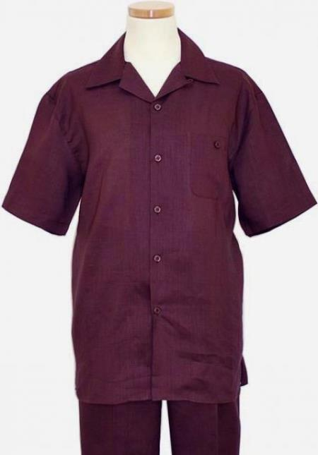 Mens Short Sleeves French cuffs Summer Casual Two Piece Walking Outfit For Sale Pant Sets Casual Suit Purple