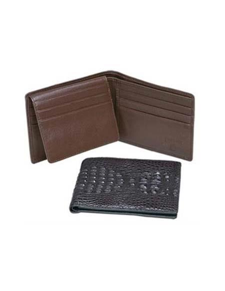 Men's Genuine Exotic Animal Skin Ferrini Genuine Crocodile Wallet Black,Cognac