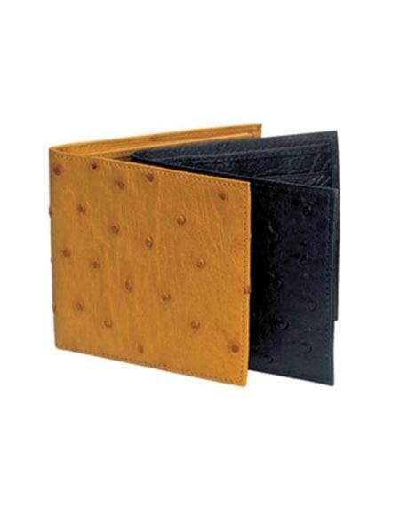 Men's Genuine Exotic Animal Skin Black,Cognac Ferrini Genuine Full Quill Ostrich Wallet