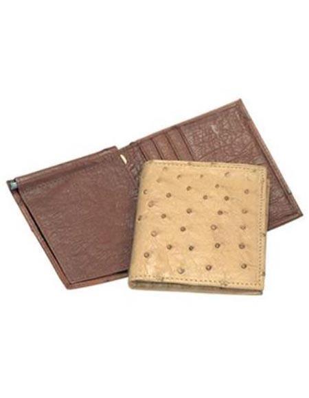 Men's Genuine Exotic Animal Skin Ferrini Genuine Smooth Ostrich Wallet Dark Bown
