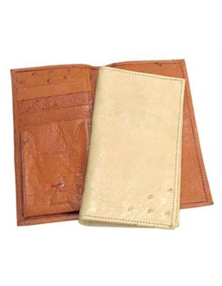 Men's Genuine Exotic Animal Skin Ferrini Genuine Smooth Ostrich Wallet Color's: Buttercup, Oryx