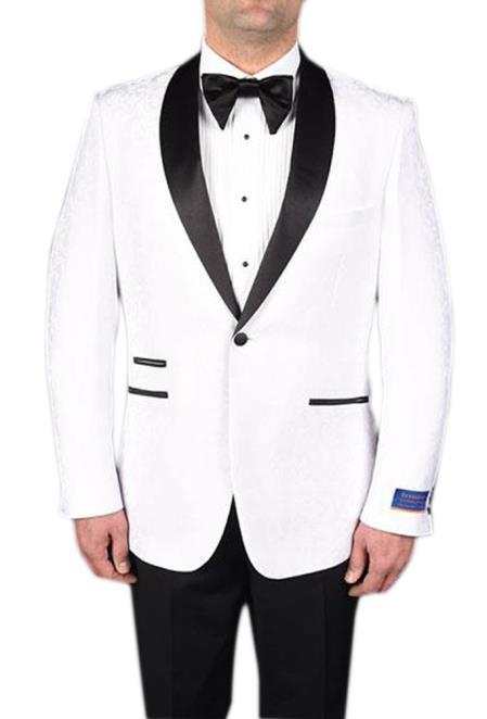 Mens White 1 Button Tuxedo Modern Geometric Pattern Super 150s Viscose Blend Dinner Jacket