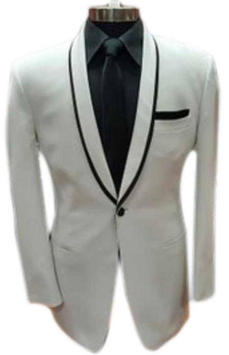 1 Button White Shawl Lapel Black Shirt Tuxedo