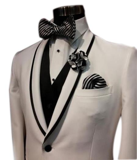 Mens Trimmed Black / White Stripe Tuxedo
