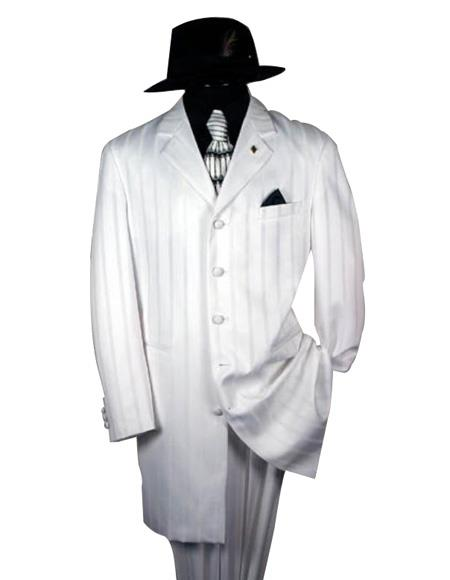 Shiny White And White Stripe ~ Pinstripe tone on tone Shadow Stripe Men's Fashion Dress Zoot Suit - Pimp Suit - Zuit Suit