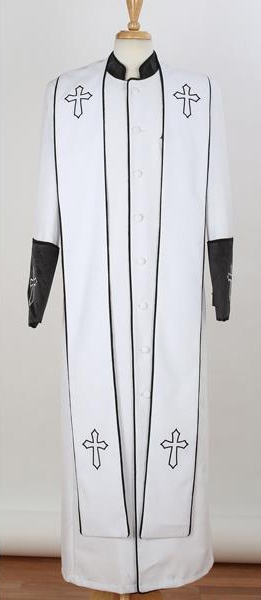 Men's Big & Tall Church White/Black Cross Accent Robe With Stole Mandarin Suits