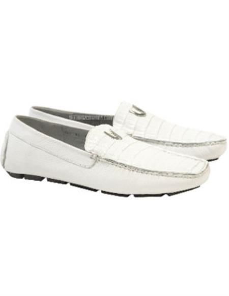 SKU#SS-67Z8 Mens White Vestigium Genuine Caiman Belly Loafers