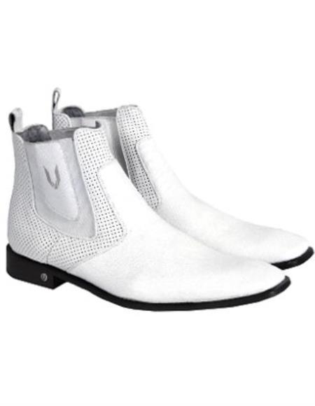 Mens Handcrafted White Vestigium Genuine Catshark Chelsea Boots