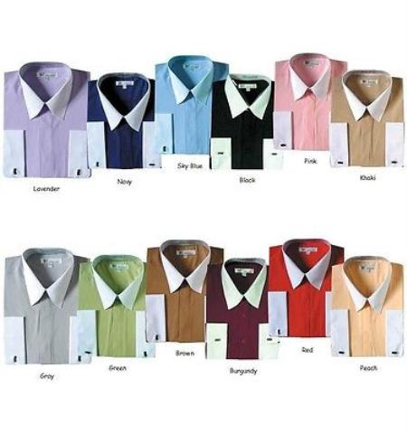 Mens Classic Stylish Fashionable Dress Shirt -White Collar Two Toned Contrast white collars Multi-color