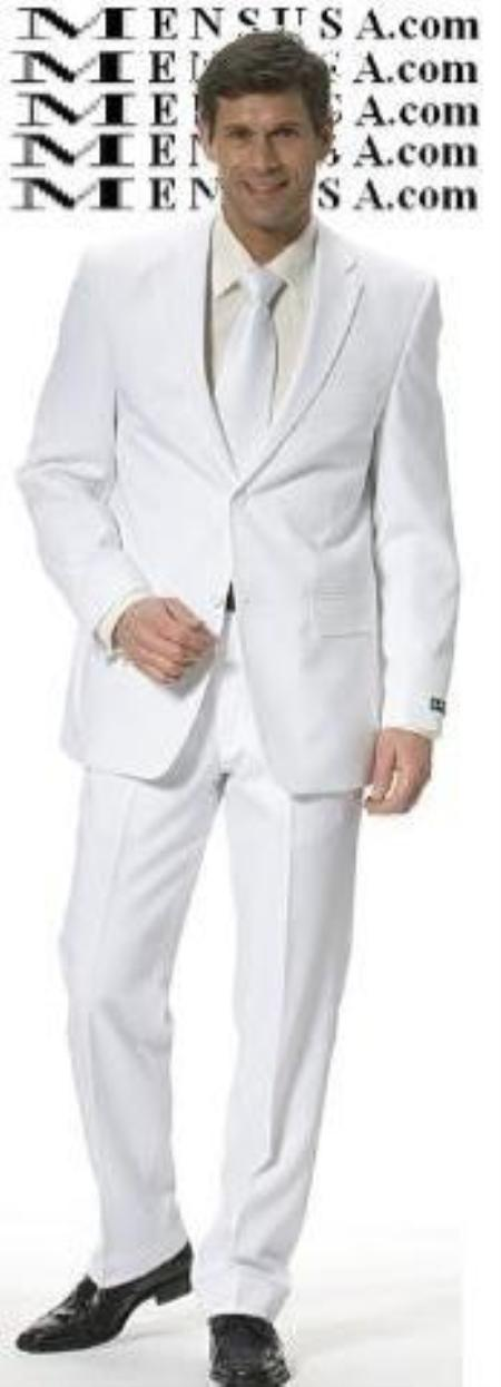 skinny Cool Light Weight 2or3 Button Taper Slim Cut Suit  - All White Suit