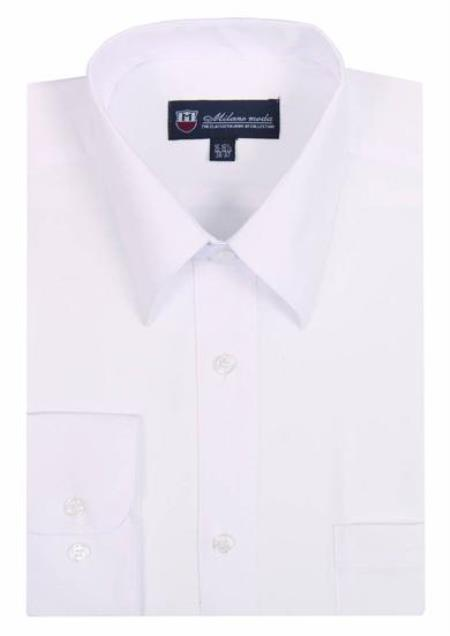 Plain Solid Color Traditional White Mens Dress Shirt