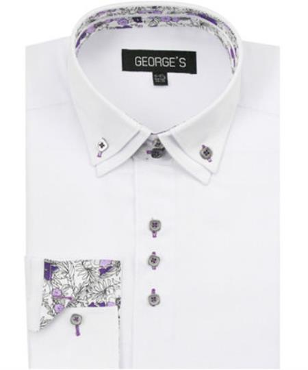 Buy SS-69 Men's White 60% Cotton 40% POLY Shirt Solid Color Double Collar