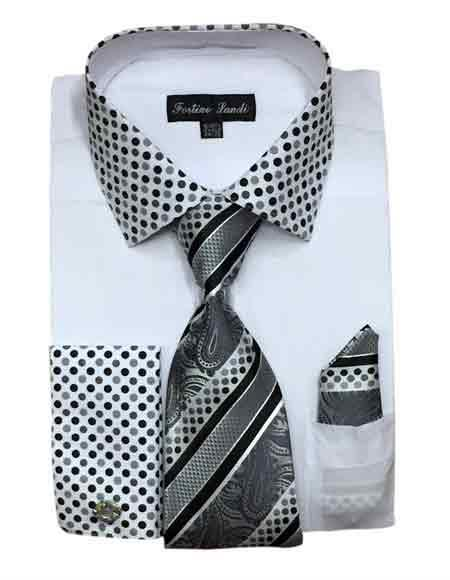 Cotton Blend White Solid/Polka Dot Pattern With Tie & Hanky Mens Dress Shirt