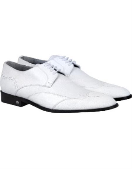 Mens White Full Leather Lining Vestigium Genuine Catshark Derby Shoes