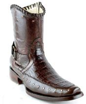 Mens White Diamonds Short Caiman Belly High Quality Inside Zipper Fashion Boots Brown