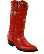 Men's White Diamonds J Toe Genuine Lizard Cognac Boots