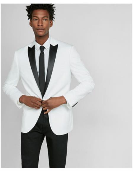 White Dinner Tuxedo Jacket Peak Black Lapel Two Toned