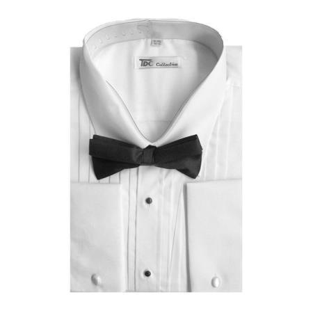Mens Tuxedo Shirt with Bow-Tie Set French Cuff White Men's Dress Shirt