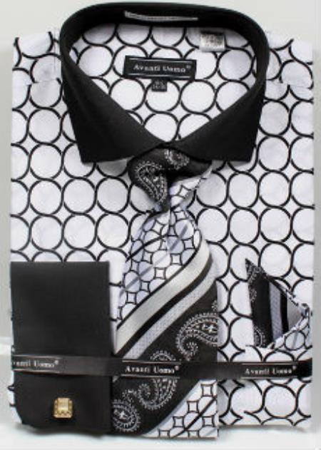 Mens Avanti Uomo Printed Pattern French Cuff