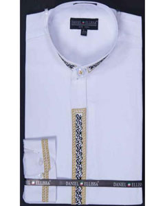 collarless White Embroidery Banded Collar Fancy Stitched Men's Dress Shirt