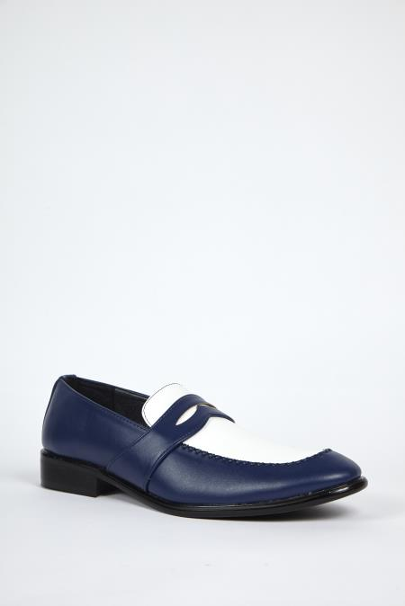 Navy White Dress Shoes