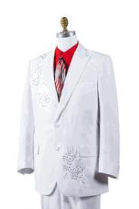 AA452 Mens White Poly Woven Rhinestone Entertainer Suit