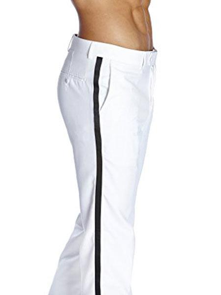 Mens Flat Front With Satin Band Solid White Classic Fit Tuxedo Pant