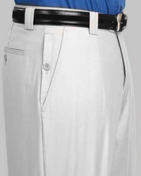 White Flat Front Pants