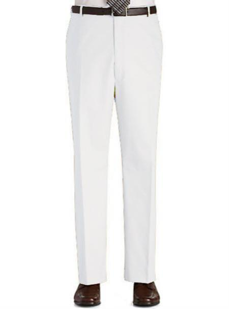 Stage Party Pants Trousers Flat Front Regular Rise Slacks - White