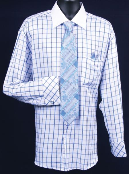French cuff dress shirt set mens windowpane white roya for Mens white french cuff shirt