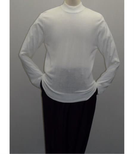 Buy SS-118 Mens White INSERCH Mock Neck Pullover Knit Sweater High Collar Dress
